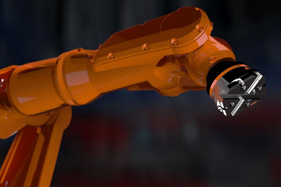 Animierter Roboterarm als 3D-Rendering